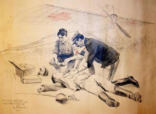 Marie Marvingt et son ambulance aérienne, dessin d'Émile Friant en 1914