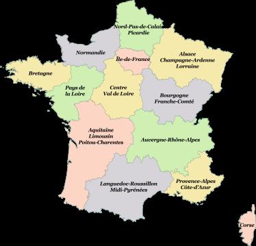 Les nouvelles régions en France à compter du 1er janvier 2016